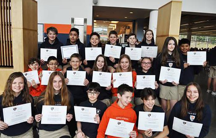 Middle School Second Quarter Touchstone Awards 2019-20